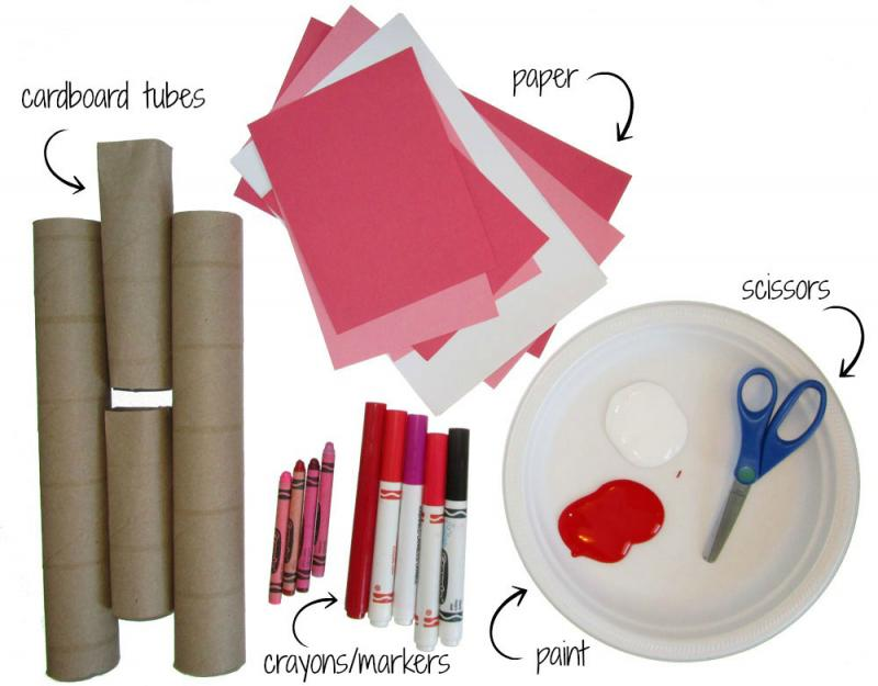 Gather your supplies: cardboard tubes, scrap paper, paint, markers and scissors.