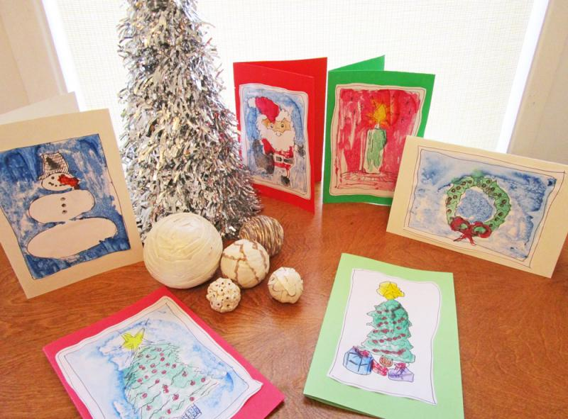 Handmade monoprint greeting cards for the holidays.