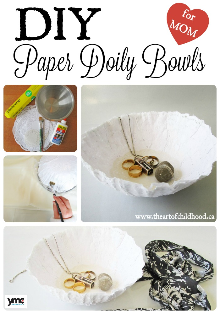 DIY Paper Doily Bowls - make one for your mom!