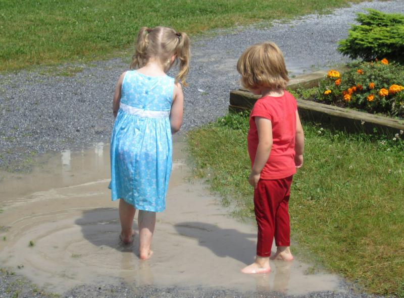 Play in a puddle!