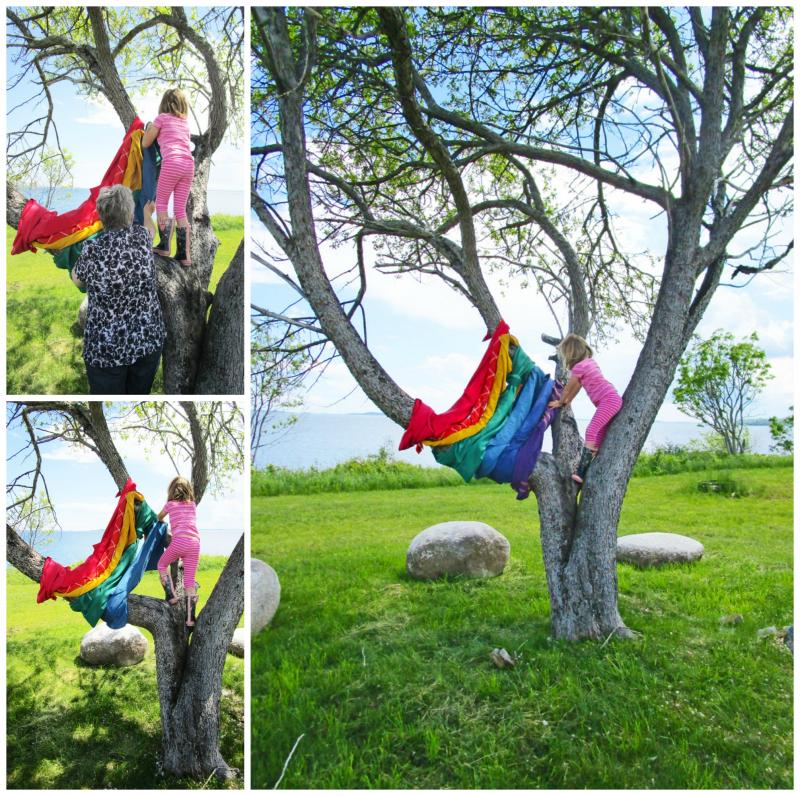 Rainbow tree using fabric from Value Village.