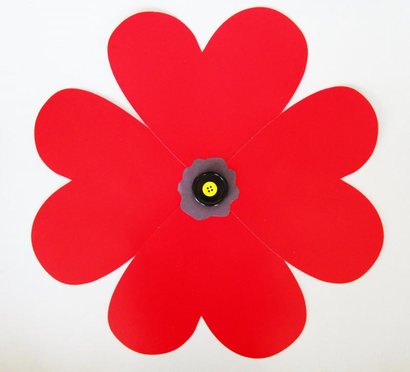 This poppy was made using pre-cut paper hearts.