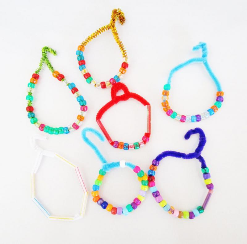 Bead and pipe cleaner ornaments