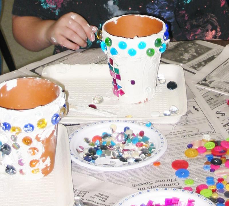 Diy kid craft spring garden mosaic pots yummymummyclub