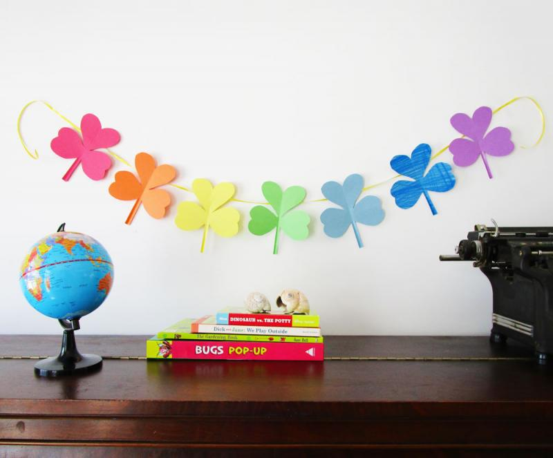 A colourful shamrock garland.