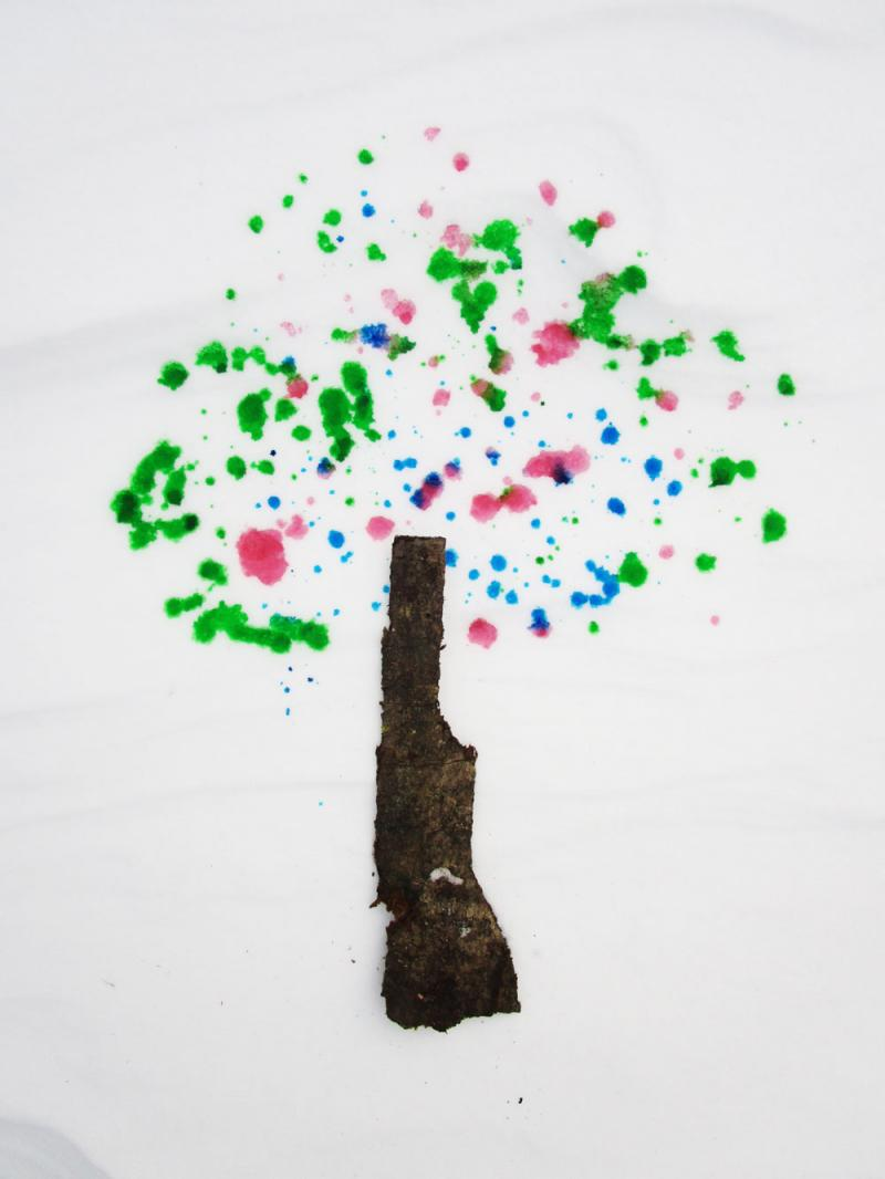 A snow tree made with food colouring.