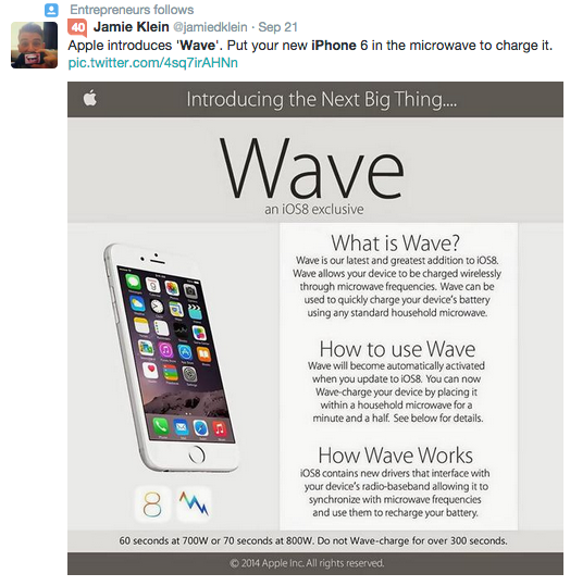(c) Twitter - 2014 - Apple's New Wave Technology isn't Real.